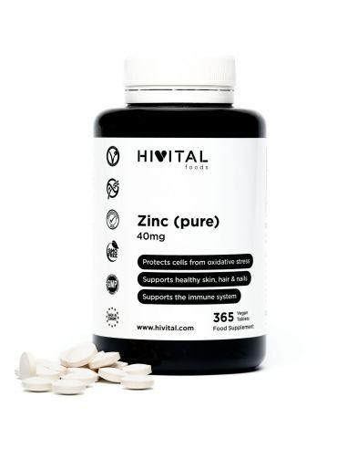 Hivital Foods Pure Zinc 40 mg 365 comprimés végétaliens