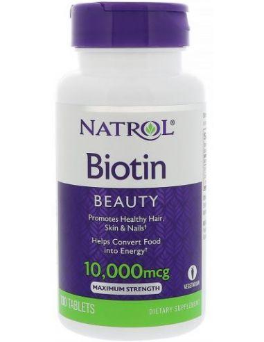 NATROL Biotin 10,000 mcg, 100 comprimés